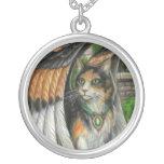 Mischief Winged Calico Cat Necklace