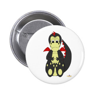 Mischievous Baby Black Dragon Red Wings Buttons