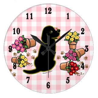 Mischievous Black Labrador Wall Clock