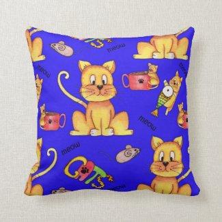 Mischievous Blue Meow Cats Throw Pillow