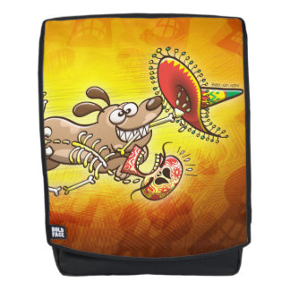 Mischievous dog stealing a Mexican skeleton Backpack