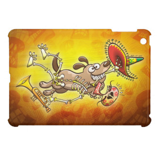 Mischievous dog stealing a Mexican skeleton iPad Mini Cases