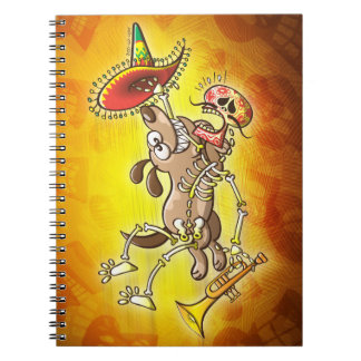 Mischievous dog stealing a Mexican skeleton Notebook