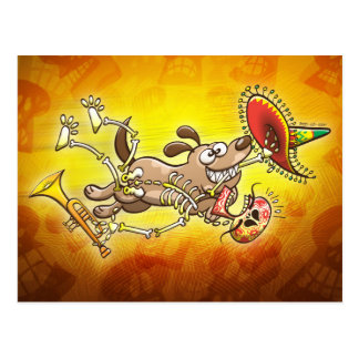 Mischievous dog stealing a Mexican skeleton Postcard