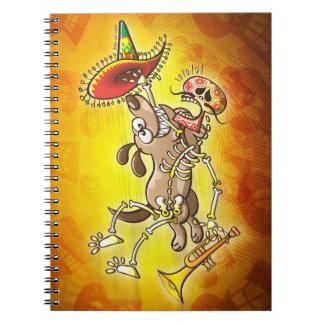 Mischievous dog stealing a Mexican skeleton Spiral Notebook