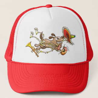 Mischievous dog stealing a Mexican skeleton Trucker Hat