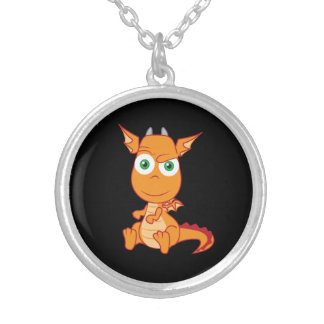 Mischievous Dragon Smirking Silver Plated Necklace
