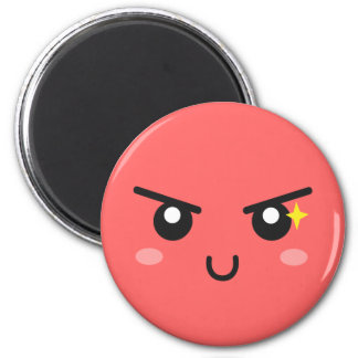 Mischievous face with evil sparkle 2 inch round magnet