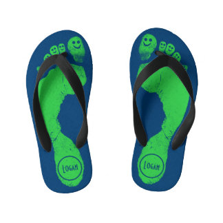 Mischievous Green Smiley-Toes™ on Antic Blue Kid's Flip Flops