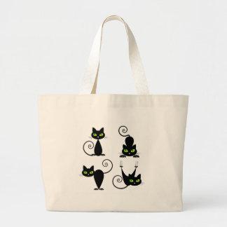Mischievous kitties large tote bag