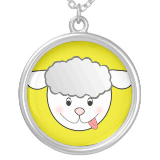 mischievous sheep face silver plated necklace