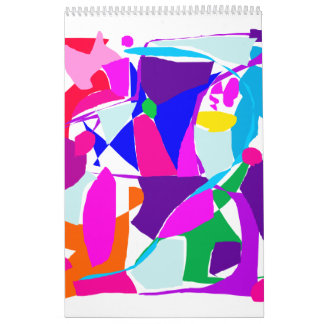 Mischievous Tile Stained Glass Oriental Wind Wall Calendar