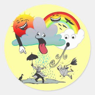Mischievous Weather Classic Round Sticker