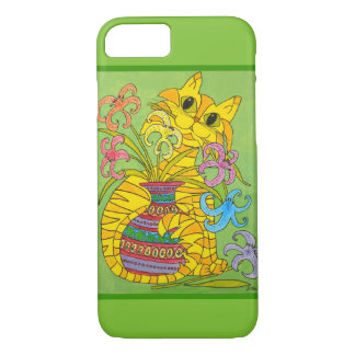 Mischievous Yellow Cat with Vase of Lilies iPhone 7 Case