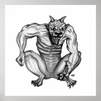 Mischwesen Golem diablo design en blanco y negro Poster
