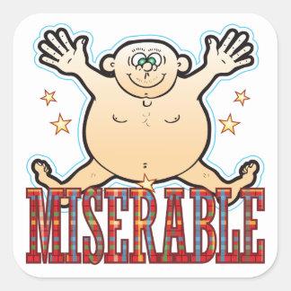 Miserable Fat Man Square Sticker