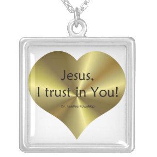 """Misericordia divina - """"confianza de Jesús I en ust Colgante Cuadrado"""