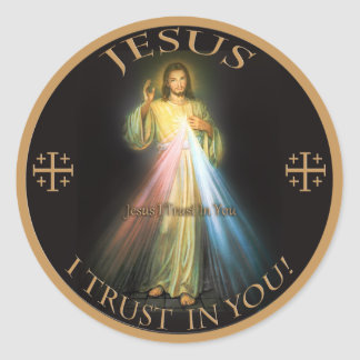 MISERICORDIA DIVINA, CONFIANZA DE JESÚS I EN USTED PEGATINA REDONDA