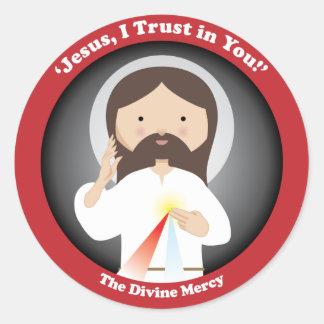 Misericordia divina de Jesús Pegatinas Redondas