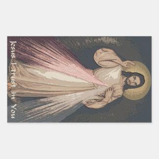 Misericordia divina pegatina rectangular