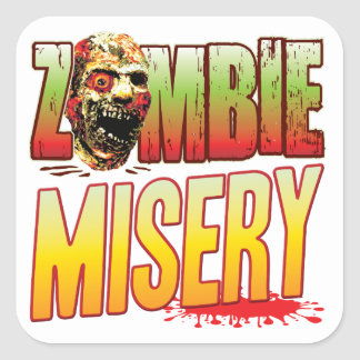 Misery Zombie Head Square Stickers