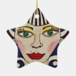"""""""Misfit Doll"""" Double-Sided Star Ceramic Christmas Ornament"""