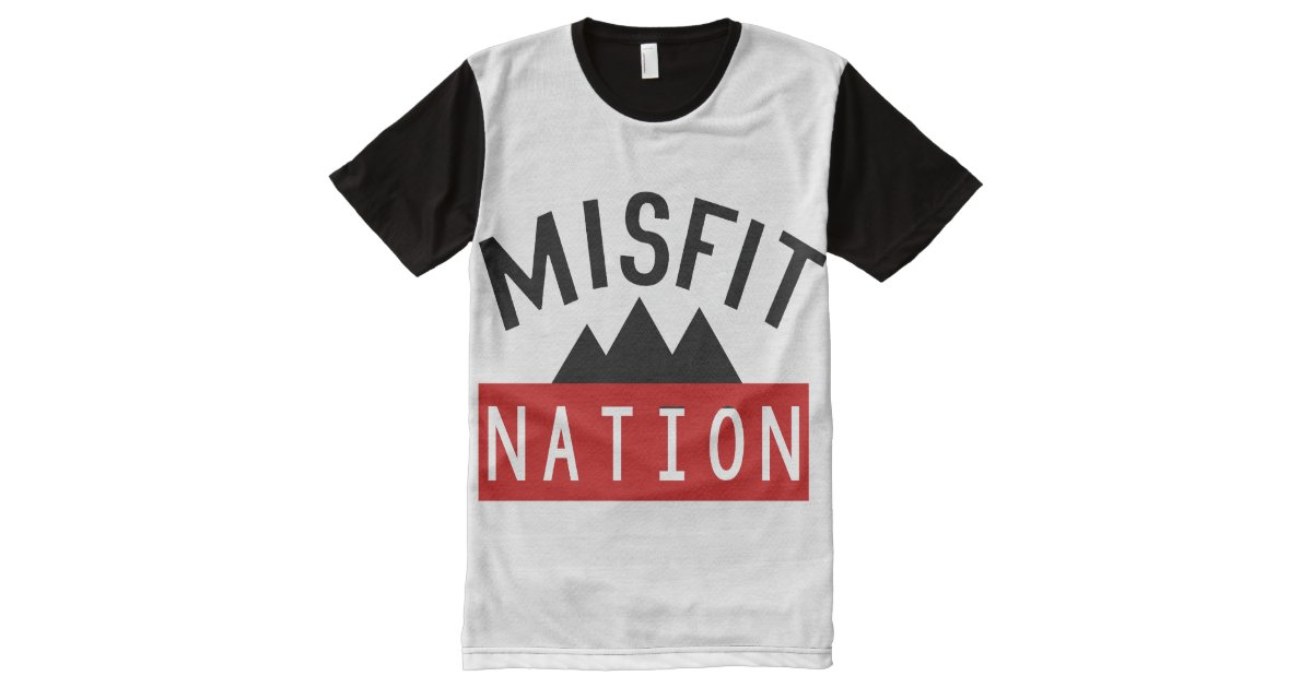 Misfit misfit nation all over printed panel tee all over for Vista print tee shirt