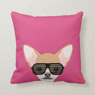 Misha - Chihuahua with avaiators, hipster glasses Throw Pillow