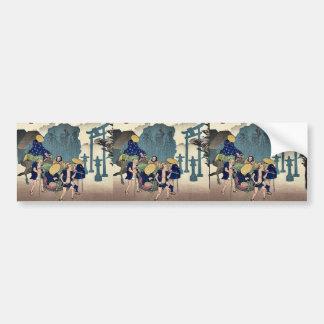 Mishima por Ando, Hiroshige Ukiyoe Etiqueta De Parachoque