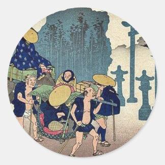 Mishima por Ando, Hiroshige Ukiyoe Pegatina Redonda