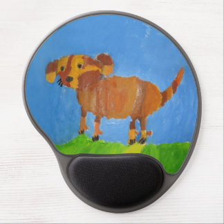 Mishka Dog painting by 7 year old boy kid's art Gel Mouse Pad