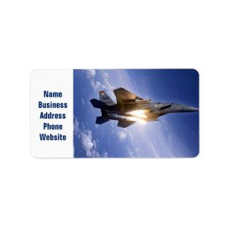 misil de lanzamiento del jet f-15 etiqueta de dirección