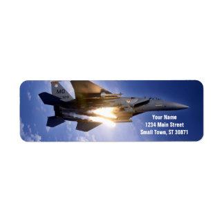 misil de lanzamiento del jet f-15 etiqueta de remite