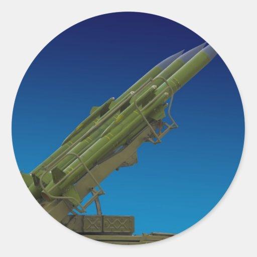 misil del suelo al aire, anti de los aviones pegatina redonda
