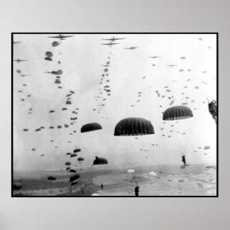 Misión aerotransportada durante la pintura WW2 Poster