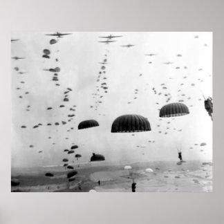 Misión aerotransportada durante la pintura WW2 Póster