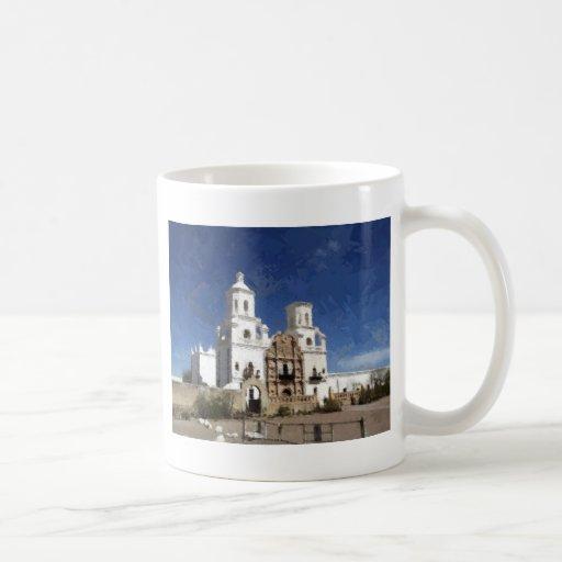 Misión blanca pintada taza