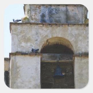 Misión de Carmel del campanario Pegatina Cuadrada