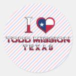 Misión de Todd, Tejas Pegatinas Redondas