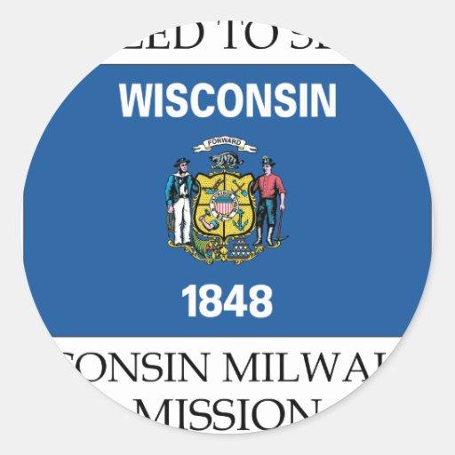 Misión de Wisconsin Milwaukee LDS llamada para Pegatinas Redondas