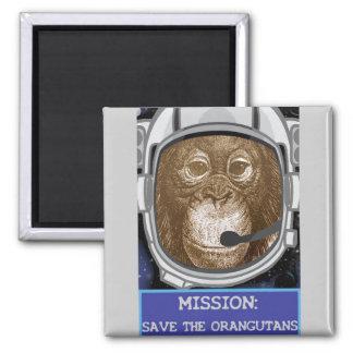 Misión del astronauta del orangután imán cuadrado