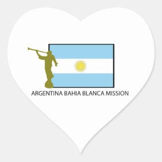 Misión del Blanca de la Argentina Bahía Pegatina Corazón