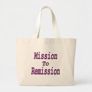 Misión en el rosa de la remisión bolsas lienzo