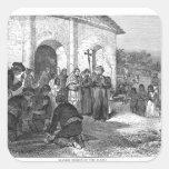 Misión española del Álamo Pegatina Cuadrada