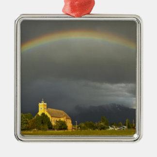 Misión histórica de St Ignatius en St Ignatius, 2 Adorno Navideño Cuadrado De Metal