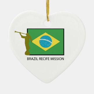 MISIÓN LDS DEL BRASIL RECIFE ADORNO NAVIDEÑO DE CERÁMICA EN FORMA DE CORAZÓN