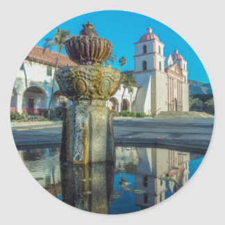 Misión Santa Barbara Pegatina Redonda