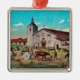 Misión Santa Clara de AsisSanta Clara, CA Adorno Navideño Cuadrado De Metal