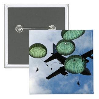 Misión total del salto, paracaídas, ejército ameri pin cuadrada 5 cm