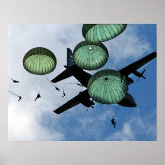 Misión total del salto, paracaídas, ejército ameri póster